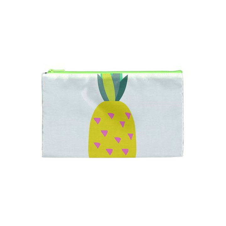Pineapple Fruite Yellow Triangle Pink Cosmetic Bag (XS)