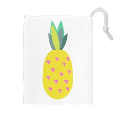Pineapple Fruite Yellow Triangle Pink Drawstring Pouches (extra Large)