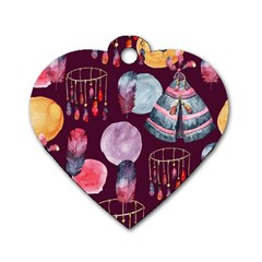 Boho Tribal Watercolor Pattern  Dog Tag Heart (one Side)