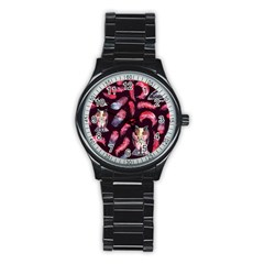 Boho Owl And Feather Pattern Stainless Steel Round Watch