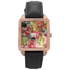 Garden Abstract Rose Gold Leather Watch