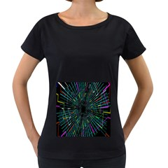 Colorful Geometric Electrical Line Block Grid Zooming Movement Women s Loose Fit T Shirt (black)