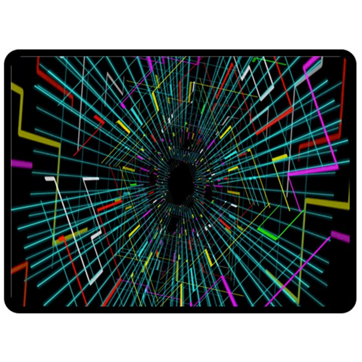 Colorful Geometric Electrical Line Block Grid Zooming Movement Double Sided Fleece Blanket (Large)