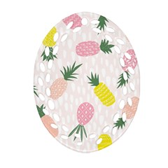 Pineapple Rainbow Fruite Pink Yellow Green Polka Dots Oval Filigree Ornament (two Sides)