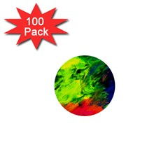 Neon Rainbow Green Pink Blue Red Painting 1  Mini Buttons (100 Pack)