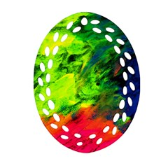 Neon Rainbow Green Pink Blue Red Painting Oval Filigree Ornament (two Sides)