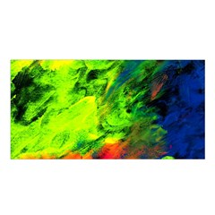 Neon Rainbow Green Pink Blue Red Painting Satin Shawl