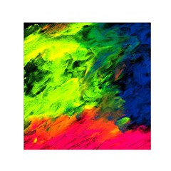 Neon Rainbow Green Pink Blue Red Painting Small Satin Scarf (square)