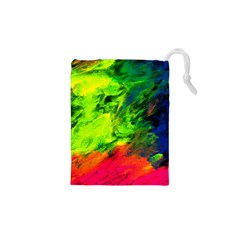 Neon Rainbow Green Pink Blue Red Painting Drawstring Pouches (xs)