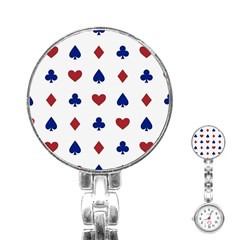 Playing Cards Hearts Diamonds Stainless Steel Nurses Watch