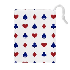 Playing Cards Hearts Diamonds Drawstring Pouches (extra Large)