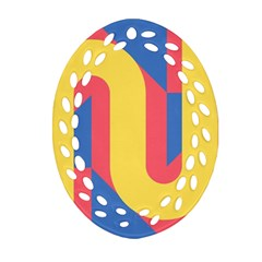 Rainbow Sign Yellow Red Blue Retro Oval Filigree Ornament (two Sides)