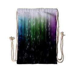 Numerical Animation Random Stripes Rainbow Space Drawstring Bag (small)