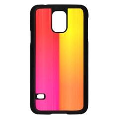 Rainbow Stripes Vertical Lines Colorful Blue Pink Orange Green Samsung Galaxy S5 Case (black)