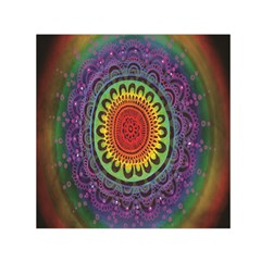 Rainbow Mandala Circle Small Satin Scarf (square)