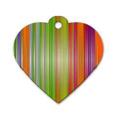 Rainbow Stripes Vertical Colorful Bright Dog Tag Heart (one Side)