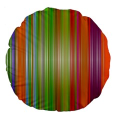 Rainbow Stripes Vertical Colorful Bright Large 18  Premium Flano Round Cushions