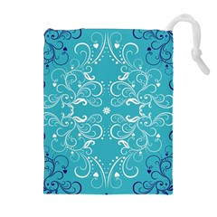 Repeatable Patterns Shutterstock Blue Leaf Heart Love Drawstring Pouches (extra Large)