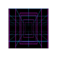 Retro Neon Grid Squares And Circle Pop Loop Motion Background Plaid Purple Acrylic Tangram Puzzle (4  X 4 )