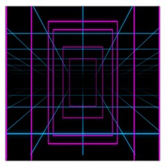 Retro Neon Grid Squares And Circle Pop Loop Motion Background Plaid Purple Large Satin Scarf (square)
