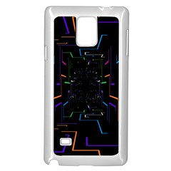 Seamless 3d Animation Digital Futuristic Tunnel Path Color Changing Geometric Electrical Line Zoomin Samsung Galaxy Note 4 Case (white)