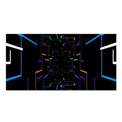 Seamless 3d Animation Digital Futuristic Tunnel Path Color Changing Geometric Electrical Line Zoomin Satin Shawl