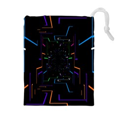 Seamless 3d Animation Digital Futuristic Tunnel Path Color Changing Geometric Electrical Line Zoomin Drawstring Pouches (extra Large)