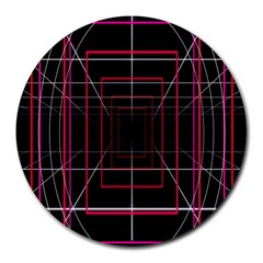 Retro Neon Grid Squares And Circle Pop Loop Motion Background Plaid Round Mousepads