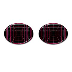 Retro Neon Grid Squares And Circle Pop Loop Motion Background Plaid Cufflinks (oval)
