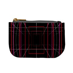 Retro Neon Grid Squares And Circle Pop Loop Motion Background Plaid Mini Coin Purses