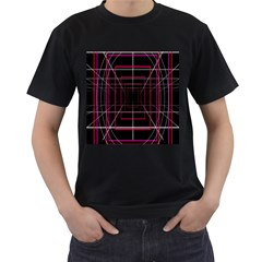 Retro Neon Grid Squares And Circle Pop Loop Motion Background Plaid Men s T Shirt (black)