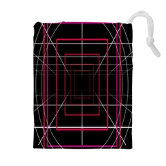 Retro Neon Grid Squares And Circle Pop Loop Motion Background Plaid Drawstring Pouches (extra Large)