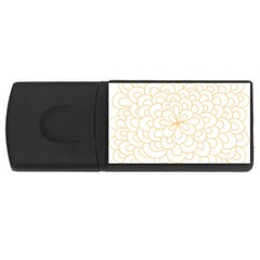 Rosette Flower Floral Rectangular Usb Flash Drive
