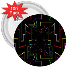 Seamless 3d Animation Digital Futuristic Tunnel Path Color Changing Geometric Electrical Line Zoomin 3  Buttons (100 Pack)
