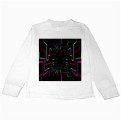 Seamless 3d Animation Digital Futuristic Tunnel Path Color Changing Geometric Electrical Line Zoomin Kids Long Sleeve T Shirts