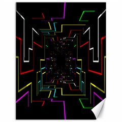 Seamless 3d Animation Digital Futuristic Tunnel Path Color Changing Geometric Electrical Line Zoomin Canvas 18  X 24
