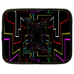 Seamless 3d Animation Digital Futuristic Tunnel Path Color Changing Geometric Electrical Line Zoomin Netbook Case (large)