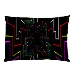Seamless 3d Animation Digital Futuristic Tunnel Path Color Changing Geometric Electrical Line Zoomin Pillow Case
