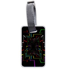 Seamless 3d Animation Digital Futuristic Tunnel Path Color Changing Geometric Electrical Line Zoomin Luggage Tags (one Side)