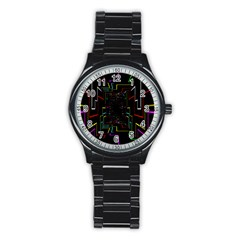 Seamless 3d Animation Digital Futuristic Tunnel Path Color Changing Geometric Electrical Line Zoomin Stainless Steel Round Watch