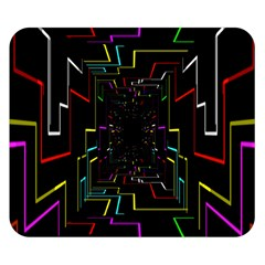 Seamless 3d Animation Digital Futuristic Tunnel Path Color Changing Geometric Electrical Line Zoomin Double Sided Flano Blanket (small)