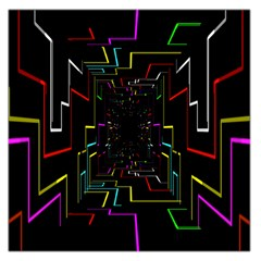 Seamless 3d Animation Digital Futuristic Tunnel Path Color Changing Geometric Electrical Line Zoomin Large Satin Scarf (square)