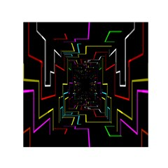 Seamless 3d Animation Digital Futuristic Tunnel Path Color Changing Geometric Electrical Line Zoomin Small Satin Scarf (square)
