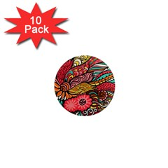 Seamless Texture Abstract Flowers Endless Background Ethnic Sea Art 1  Mini Magnet (10 Pack)