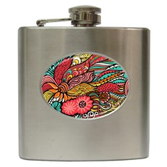 Seamless Texture Abstract Flowers Endless Background Ethnic Sea Art Hip Flask (6 Oz)