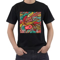 Seamless Texture Abstract Flowers Endless Background Ethnic Sea Art Men s T Shirt (black) (two Sided)
