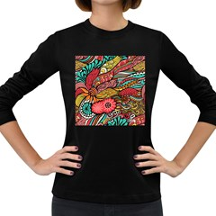 Seamless Texture Abstract Flowers Endless Background Ethnic Sea Art Women s Long Sleeve Dark T Shirts