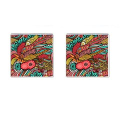 Seamless Texture Abstract Flowers Endless Background Ethnic Sea Art Cufflinks (square)