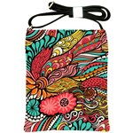Seamless Texture Abstract Flowers Endless Background Ethnic Sea Art Shoulder Sling Bags Front