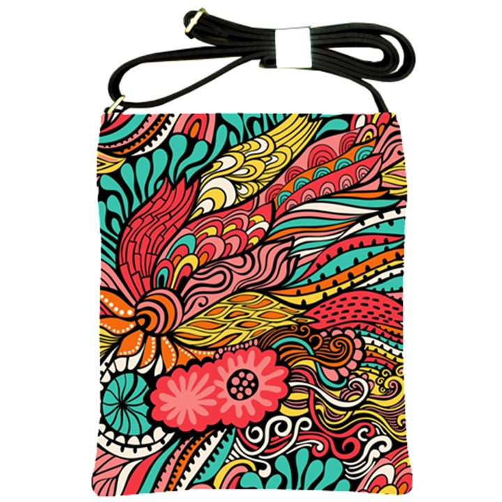 Seamless Texture Abstract Flowers Endless Background Ethnic Sea Art Shoulder Sling Bags